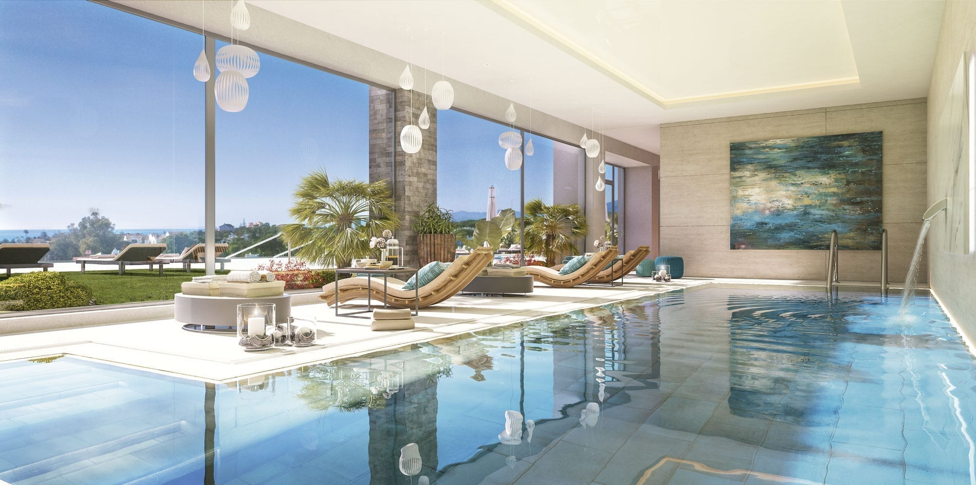 Communal landscaped gardens and an open-air pool where you can enjoy the peace and quiet of the area, plus a fitness room and an indoor pool for complete care of mind and body